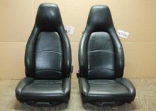 Porsche 911 993 Carrera Black Perforated Leather Seats w/ crest 8x8 way power OEM