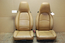 Porsche 911 993 Carrera Tan Perforated Leather Seats w/ crest 8x12 way power OEM
