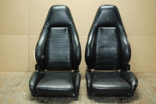 Porsche Early 911 930 Sport Seats Black Perforated Leather Factory OEM