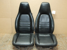 Porsche 911 964 Carrera Black Perforated Leather Seats 6x6 way power OEM