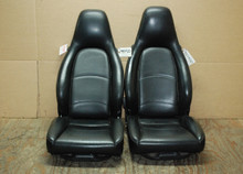 Porsche 911 993 Carrera Seats Black Perforated Leather 8x8 way power, Factory OEM