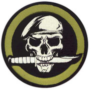 Skull and Knife Velco Patch