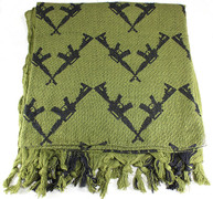 Lightweight Shemagh Tactical Scarf - OD/Guns