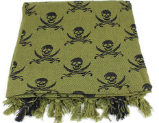 Lightweight Shemagh Tactical Scarf - OD/Skulls