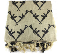 Lightweight Shemagh Tactical Scarf - Tan/Guns