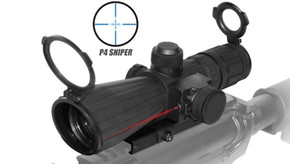 NcSTAR 4x32 Rubber Coated P4 Sniper Scope w/Laser and QR