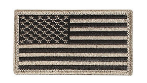 "Velco 2"" x 3"" US Flag Patch - Khaki/Black"
