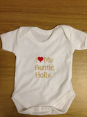 Personalised Baby/Toddler Vest, Newborn Gift - Bodysuit/Grow, I ♥ My Auntie Design
