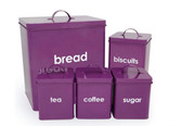 5 Piece Bread Bin and Canisters Set Biscuit Sugar Coffee Tea Metal Tin