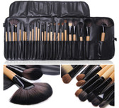 24 Pieces Make Up Brushes with Wooden Handles
