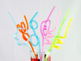 Shiny Metallic Crazy Straws 6 Pieces Assorted