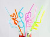 Shiny Metallic Crazy Straws 6 Pieces Assorted