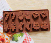 12 Christmas Santa Snowman Silicone Chocolate Mould Ice Cube Tray