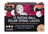 10 LED Rattan Ball Solar String Lights - Red and Cream