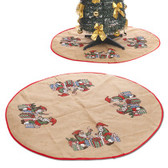 39-Inch Diameter Jute Printed Christmas Tree Skirt