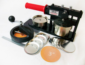 "3"" FABRIC Tecre Button Making Kit - Machine, Fixed Rotary Circle Cutter, 250 Pin Back Button Parts 3 Inch"