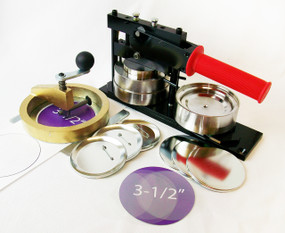 "3.5 ""  3-1/2""  FABRIC Tecre Button Making Kit - Machine, Fixed Rotary Circle Cutter, 100 Pin Back Button Parts"