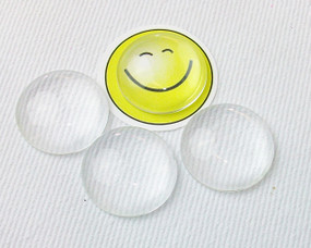 25 pcs Clear Glass Cabochons, 25mm diameter, Flat Round