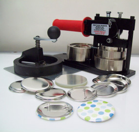 """2.25"""" FABRIC Tecre Button Making Kit - Machine, Fixed Rotary Circle Cutter, 100 Pin Back Button Parts 2-1/4 Inch-FREE SHIPPING"""
