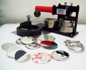 """2.25"""" FABRIC Tecre Button Making Kit - Machine, Fixed Rotary Circle Cutter, 100 Mirror Button Parts 2-1/4 Inch-FREE SHIPPING"""