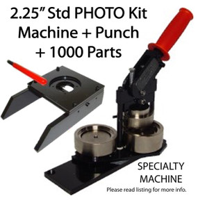 "2.25"" PHOTO & Paper Tecre Button Making Kit - Machine, Graphic Punch, 1000 Pin Back Button Parts 2-1/4 Inch"