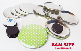 "BAM Size 2-3/8"" (2-1/4"") INDENTED BACK Magnet Parts for Button Making Machines - 100 pcs"
