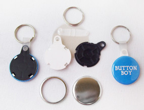 "1.25"" 1-1/4 inch Versa Back Split Ring with WHITE Plastic Tab Key Chain Complete Button Parts 100 pcs.-FREE SHIPPING"