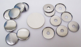 """1"""" Tecre METAL FLAT BACK Button Parts WITH HOLE - 250"""