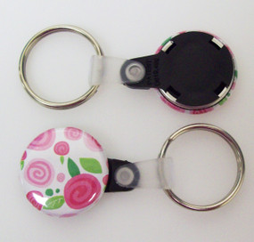 "1"" BLACK Versa Back Split Ring with Plastic Tab Key Chain Complete Button Parts 100 pcs.-FREE SHIPPING"