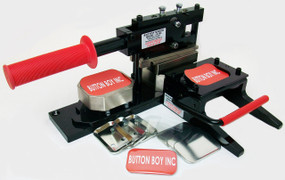 """NEW Tecre Round Corner Rectangle Button Kit  2"""" x 3""""-Machine, Graphic Punch and 1000 Complete Button Parts"""