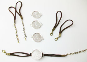 "Bracelet Kits for 1"" Buttons - 23 mm Bezel - Enough to make 100 Bracelets-BROWN"