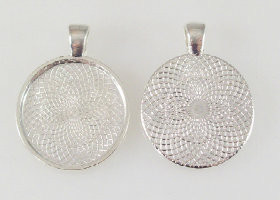 "50 Shiny Silver Pendant Trays 23mm for use with 1"" Buttons"