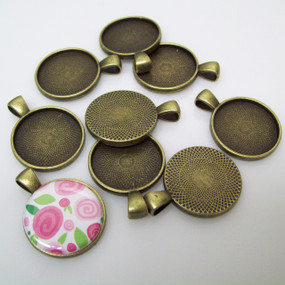 "50  Antique Bronze Pendant Trays 23mm for use with 1"" Buttons"