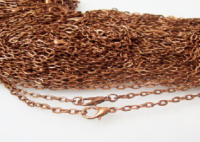 50 Antique Copper Rolo Chain Necklaces 24""