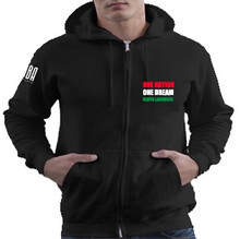 'ONE NATION. ONE DREAM. KENYA LACROSSE' Unisex Black Zip Up Hoodie