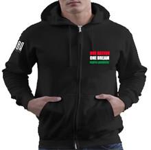 'ONE NATION. ONE DREAM. KENYA LACROSSE' Unisex Black Zip Up Hoodie