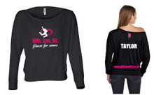 'Girls Love Fit' Off-The-Shoulder Long Sleeve