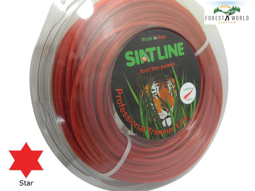 SIAT Heavy Duty Professional ALU Strimmer line,2,4 mm,STAR shaped,MADE IN ITALY