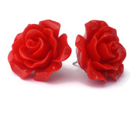 Large red rose earrings by Juicy Lucy
