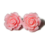 Light Pink rose earrings by Juicy Lucy