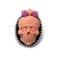 Rockabilly Pink Sugar Skull Cameo Brooch by Juicy Lucy