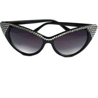 Black cat eye sunglasses with rhinestones by Juicy Lucy