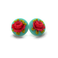 Pin up earrings red rose cameo on blue background by Juicy Lucy