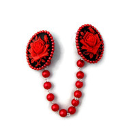 Pin up sweater clip red and black roses by Juicy Lucy