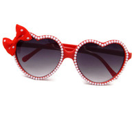 Rockabilly red heart shaped sunglasses embellished with pearls and red polka dot bow by Juicy Lucy.
