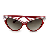 Retro red cat eye sunglasses with rhinestones by Juicy Lucy.