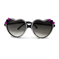 Black Heart Sunglasses with Rhinestones and purple and black roses.