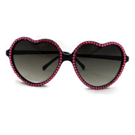 Retro black heart shaped sunglasses with pink rhinestones by Juicy Lucy.