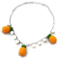 Retro Pineapple Plastic Fruit Necklace by Juicy Lucy
