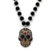 Black Beaded Acrylic Sugar Skull Necklace by Juicy Lucy